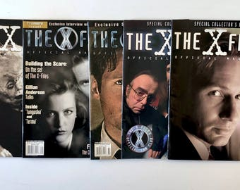 5 X-Files Fan Magazines, Vintage, Volume 1, Premiere Issue, Collector's Edition, Mulder, Scully, Skinner, Kyrcek, Lone Gunmen