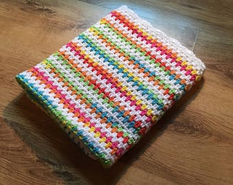 Rainbow Granny Striped Baby Blanket