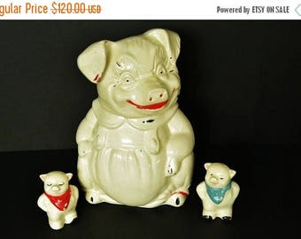 On Sale Pig Cookie Jar With Pig Salt and Pepper Shakers