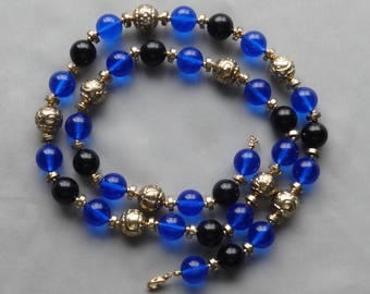 Vintage Blue & Black Lucite Bead Gold Plated Long Necklace - Length 30""