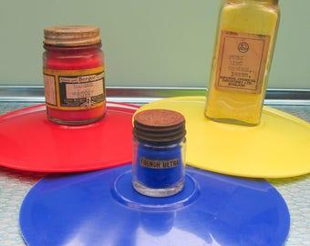 Instant Collection - Vintage Old Glass Bottles of Vivid Colour Pigments - Vintage Art Supplies