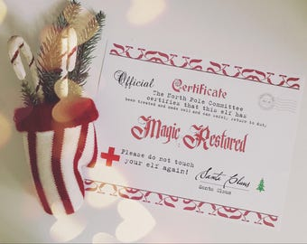 Christmas Elf Recovery Certificate of Wellness if Touched Lost Magic Printable - Typewriter Style - INSTANT Downloadable Printable PDF!