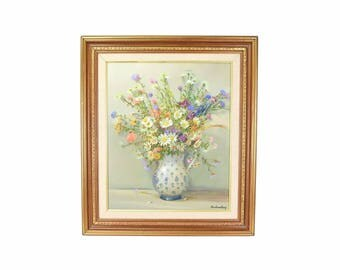 Nicely Rendered Vintage Floral Still Life Painting Signed Illegibly