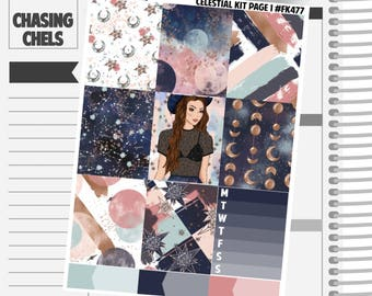 Celestial Collection #FK477-483 Premium Matte Planner Stickers