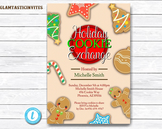 Holiday Cookie Exchange Invitation, Cookie Exchange, Cookie Swap Invite, Editable Template, Holiday Invitation, Christmas Party Template