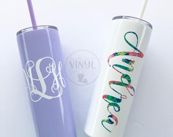 Personalized 20 oz. Skinny Metal Tumbler with Straw {Light Blue, Light Pink, Lavender, Navy, Seafoam, Pistachio, Mint, and White}