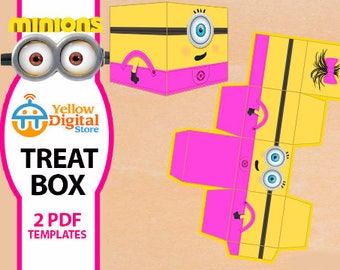 70% OFF SALE Printable Despicable Me girl Minion Treat Box, two PDF templates - Instant Download