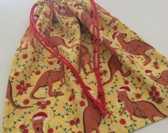 Library Bag, Toy Bag, Large 35 x 45cm Drawstring, Kangaroo, Christmas Bag, Sack, Quality Hand Made