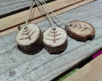 Pyrography tree wood slices