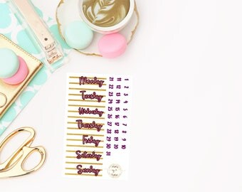 Merlot Date Covers add on, planner stickers