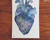 Original 4x6 Custom Galaxy Anatomical Heart Painting with Gemini Constellation - for Rachel