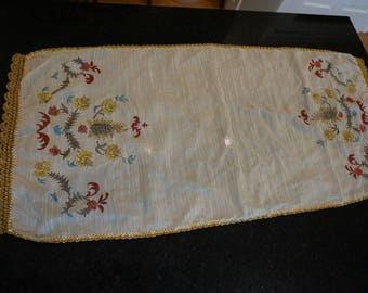Embroidered Table Topper/Dresser Scarf / Metallic Embroidery/ Boho Chic/ Boho Home decor