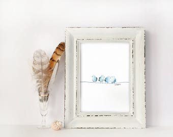 Fluffy Little Blue Birds / Four Birds on a Line / Watercolor / UNFRAMED Art Print / 8.5 x 11 in / 11 x 15 in