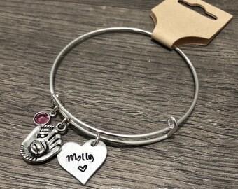 Softball bracelet / Personalized heart jewelry / Sports mom / Girls softball gift / Birthstone bracelet / Heart softball / Team Coach gift