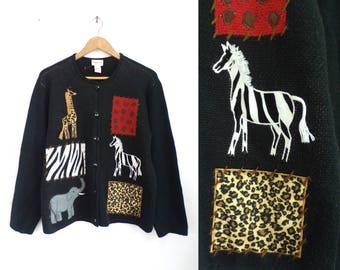Animal Print Cardigan Sweater 90s Knit Acrylic Button Down Cardigan African Safari Sweater Giraffe Zebra Elephant Embroidered Jumper Large