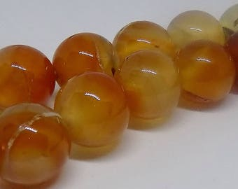 Red 15mm Round Natural Agate Gemstone Beads (24 pieces)