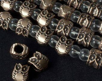 "Antique Copper 10x8mm Tibetan Style Large Hole Owl Pewter Beads (8"" strand)"