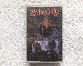 Vintage Rare 1991 Entombed Clandestine Cassette Tape Earache Napalm Death Swedish Death Metal