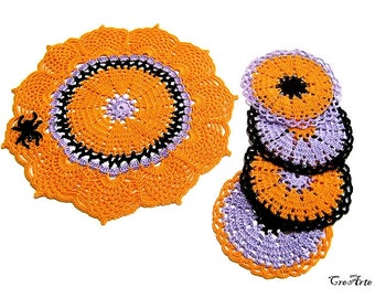 Orange Crochet doily + 4 coasters, Set Halloween, Table decorations, Centrino e sottobicchieri per Halloween