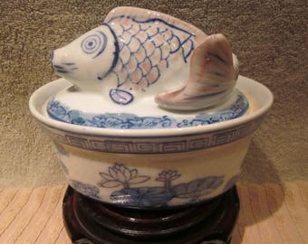 Chinese Koi fish Covered Oblong Bowl Hand Pained Blue White Details   mfg china Mark