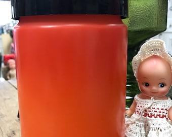 Large Vintage Anchor Hocking Orange Milk Glass Canister Jar with Lid