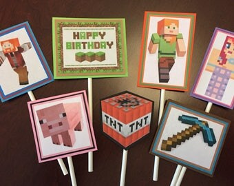 Minecraft Cupcake Toppers, Minecraft party, Minecraft birthday, Minecraft Cake toppers, Video Game Party