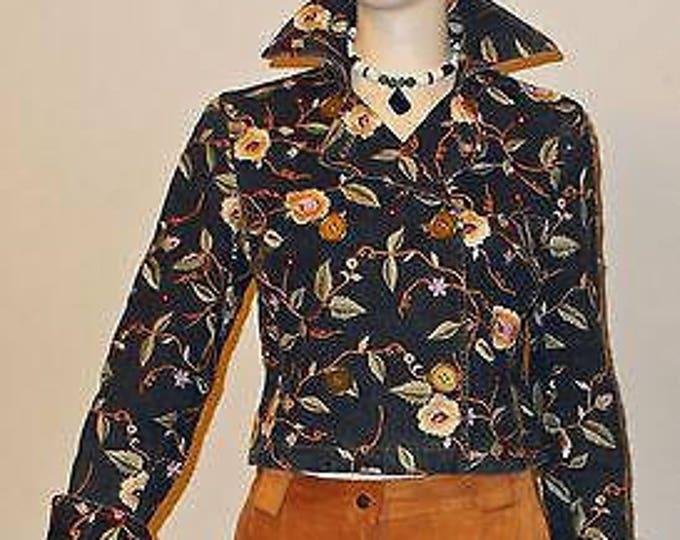 Vintage 90s Doncaster Sport  Embroidered Flowers Floral Brown Blue Jean Denim Womens Long Sleeve Short Blazer Jacket