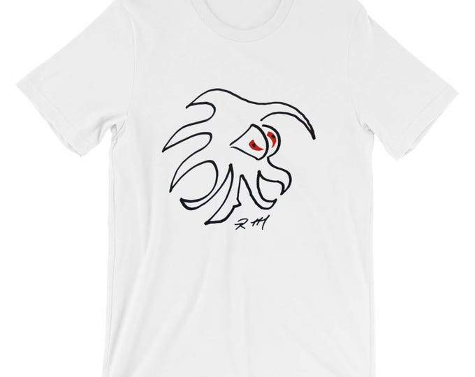 White Cotton Tee Shirt Red Rad Eyes Cool Cute Funny Radmadman Designs Short Sleeve Unisex T-Shirt
