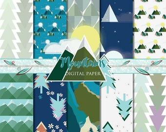 Mountain Paper, Mountain Digital Paper, Mountains Paper, Climb Every Mountain, Camping Print, Outdoors Pattern, Mountain Pattern, Scrapbook