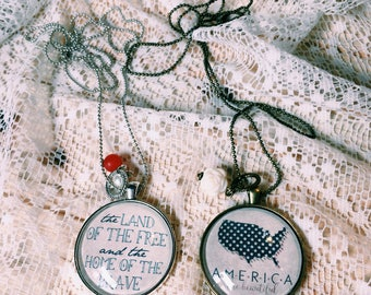 Patriotic Necklace, July 4th Necklace, Memorial Day Jewelry, America the Beautiful, Land if the free, Home of ghe brave