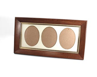 Vintage picture frame for 3x4 photographs - three openings, oval mat, gold-tone metal and wood frame, table frame, nice for school pictures!