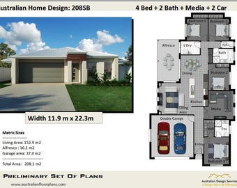 208 m2 / 22.38 squares or 2238 sq foot |  4 bed + 2 Bath + Media Room + 2 Car   | House Plans 208SB For Sale