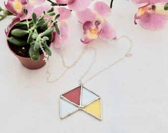 Simple Geometric Stained Glass Necklace / Multi coloured Glass