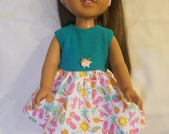 "Colorful Beach Sun Dress Dixie-crafted to fit 14.5"" Dolls including those from the American Girl Doll Clothes Company"