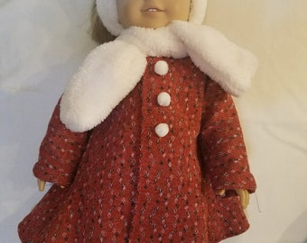 """Dixie-crafted Winter Coat to fit 18"""" Dolls including those from the American Girl Doll Clothes Company"""
