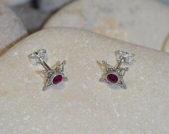 3mm Ruby STUD EARRINGS // Silver Post Earings - One Pair Cartilage Earring Stud - Tiny Stud Earrings - Helix Earring - Conch Earring