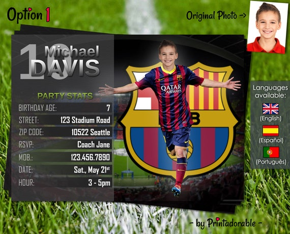 Soccer Invitation - Barcelona Invite - Football Birthday Party - Digital Invite with customizable face and team - Choose your team!