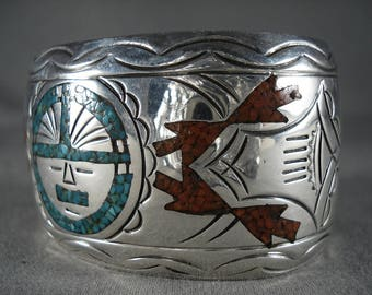 Wide Vintage Navajo Turquoise Coral Silver Sun Bracelet