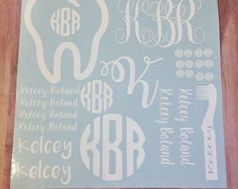 Dental assistant monogram sheet, Tooth sticker sheet, Dental hygienist monogram, Tooth monogram, Toothbrush monogram, nail decals, monograms
