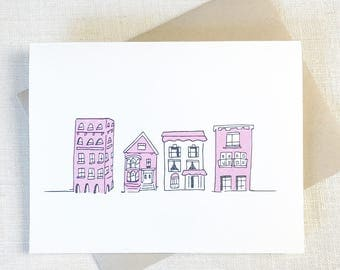 PINK HOUSES New Home Card, Congrats Card Pink, Wedding Card Congrats, Pink Stationery, Thank You Card Wedding, Bridal Shower Card,