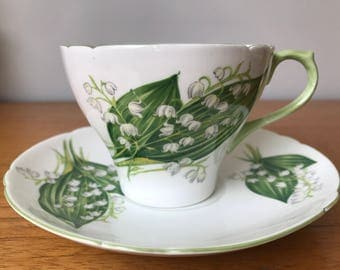 "Shelley ""Lily of the Valley"" Vintage Teacup and Saucer, Floral English Tea Cup and Saucer, Bone China, Birthday Gift"