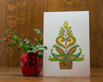 Christmas Tree card, greeting card, note card, winter, holiday, Christmas, winter, gift, Christmas decor, southwestern, unique handmade