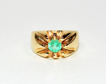 40% OFF SALE with free resizing!! Sizzling Hot 1.50ct Colombian Emerald 10kt Yellow Gold Ring