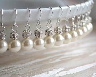 10 sets of Earrings Bridesmaid set of 10 Pearl jewelry Rhinestone earrings Bridesmaid earrings Bridesmaid gift Bridesmaid earrings set of 10