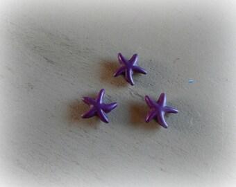3 beads 15 mm deep purple Eggplant howlite starfish