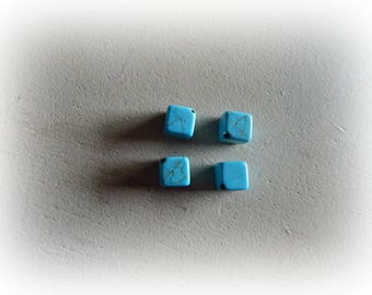 4 beads cube 8 mm blue turquoise howlite