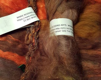 Wonderland Art Yarn / 21. But What Did The Dormouse Say? / Brown / Hazel / Caramel / Orange / 110g / Merino / Silk / Knitting / Crochet