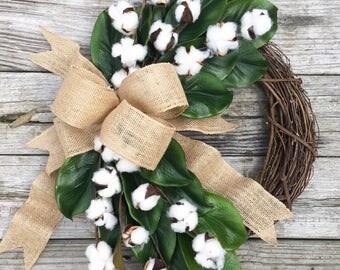 Magnolia and Cotton Wreath, Cotton Boll Wreath, Fixer Upper Wreath, Farmhouse Wreath, Farmhouse Decor, Housewarming Gift, Summer Wreath