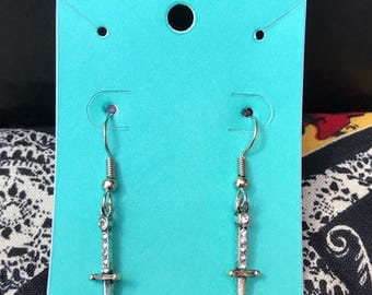 Faux Silver dagger earrings