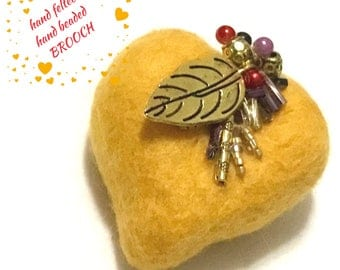 Gold Valentine Beaded Heart Brooch,Hand Felted Brooch,Jacket Pin, Lapel Pin Purse Brooch, Needle felted Brooch, Stylish Gift, Valentine Gift